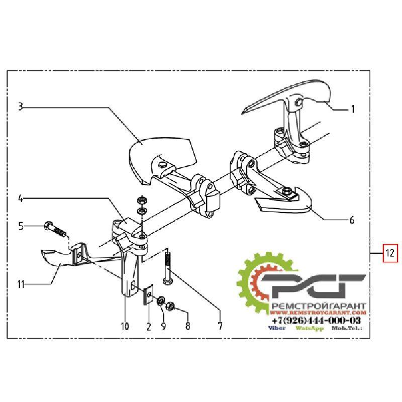 Смесительный механизм для выхода по центру/справа комплект с болтами